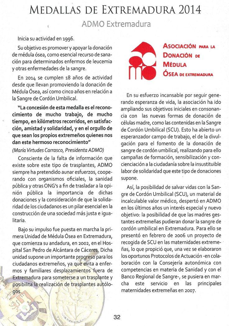 Texto de la revista del Día de Extremadura que publicó el Gobex (7-septiembre-2014) sobre la Asociación para la Donación de Médula Ósea