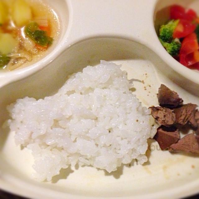 ・鶏レバー ・トマトとブロッコリーのサラダ ・コンソメスープ - 4件のもぐもぐ - 離乳食!鶏レバー by hanabisana