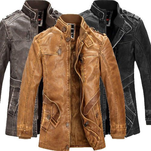 Details About 2015 Mens Military Leather Jacket Bomber