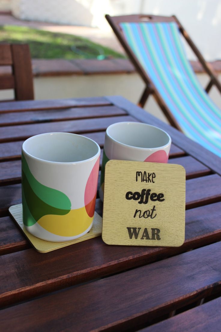 Make coffee not war; Set of 4 quirky, yellow coasters by CutOutsProductDesign on Etsy