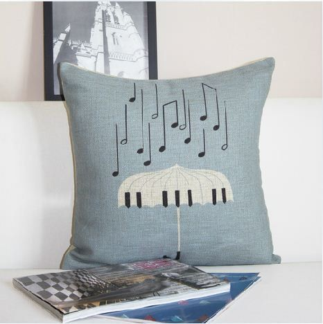 Lovely chic music theme pillow case set 3 colors to choose black white piano board 30x50 Grey Blue raining music notes 45x45 rhino piano