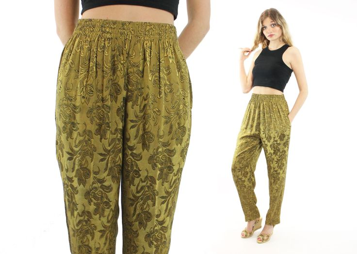 $44, Vintage 90s High Waisted Pants Chartreuse Olive Gold Green Trousers Elastic Waist Pants 1990s Tapered Leg Pants MARNI Small S by ScarletFury on Etsy