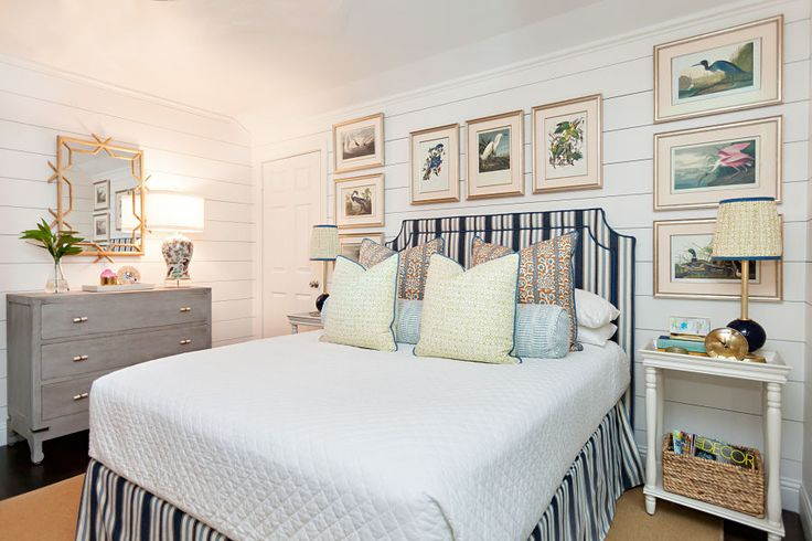 Maddie G Designs Fall 2016 One Room Challenge | Added White Painted Shiplap, Audubon Print Gallery Wall and Blue and White for this cozy Guest Room