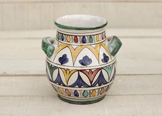 Jarrón de cerámica marroquí, Tarro de utensilio cerámica, Portacucharones, decoraación hogar, regalo de inauguración de la casa, florero