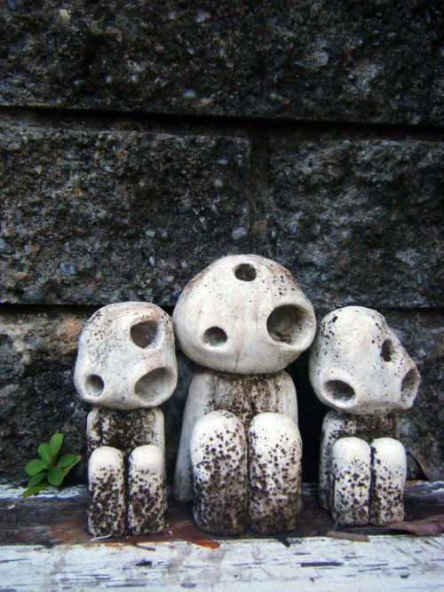 Kodama Trio by Gimpbeast. A kodama  is a spirit from Japanese folklore, which is believed to live in certain trees (similar to the Dryad of Greek mythology). According to the 13th century Ryōbu Shinto manual Reikiki, kodama can be found in groups in the inner reaches of mountains. They occasionally speak, and can especially be heard when a person dies.