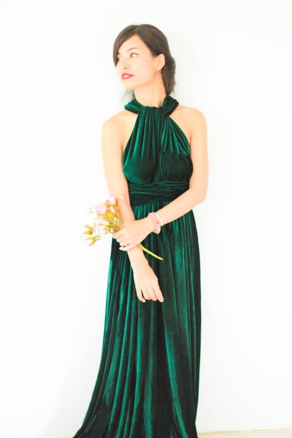 Plus Size Emerald Green Velvet Dress Bridesmaid Dress Maxi infinity Dress  Prom Dress Convertible Dr 07d45ff95b5a