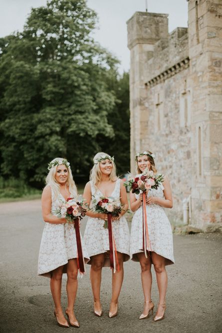 Bridesmaids in Sheike Dresses - Pronovias Wedding Dress | Outdoor Wedding at Fernie Castle Scotland | Autumnal Flowers | Anna Urban Photography