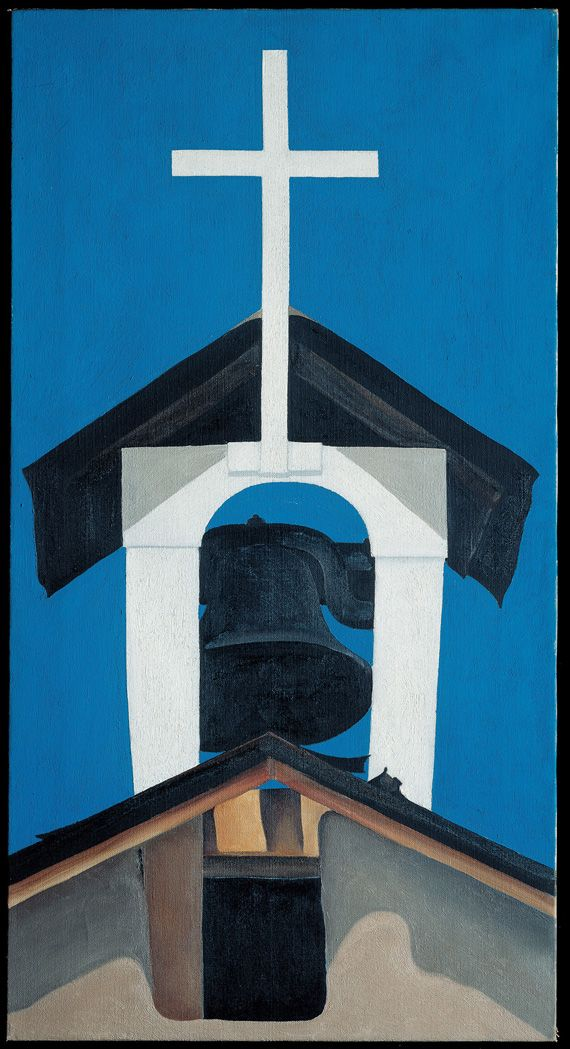 Georgia O'Keeffe - Church Steeple, 1930. Oil on canvas; 30 x 16 in. Georgia O'Keeffe Museum; Gift of The Burnett Foundation (1997.06.017). © Georgia O'Keeffe Museum.