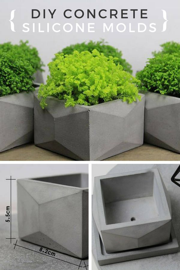 DIY concrete square geometric silicone molds. These are the perfect flower pots. I love the modern look. #ad #concrete #siliconemold #cement #flowerpot #planter #square #geometric #modern