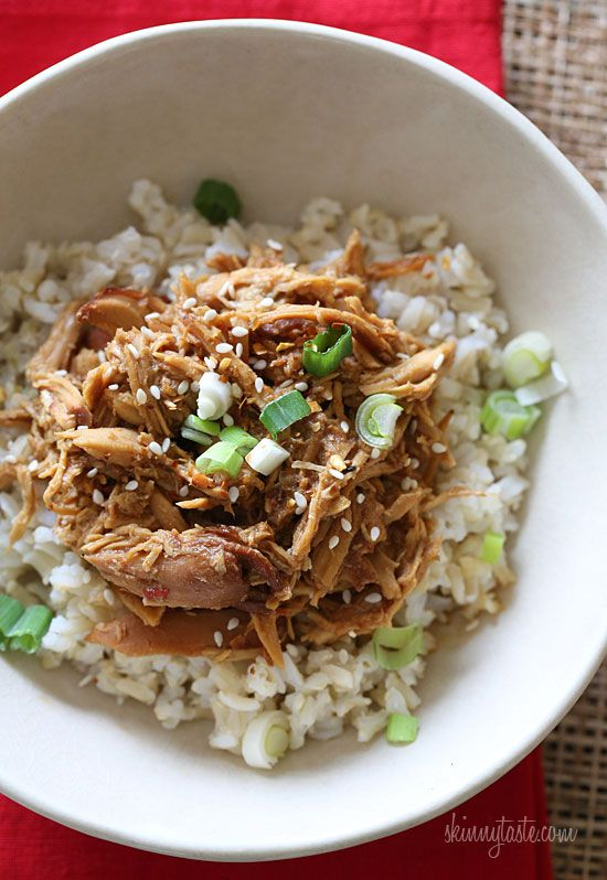 This EASY, Asian inspired crock pot chicken has the perfect balance of sweet, savory and spice!