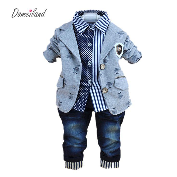 2017新しいファッションベビー冬服用3ピース男の子服スーツでpoloシャツ綿ジーンズパンツセット