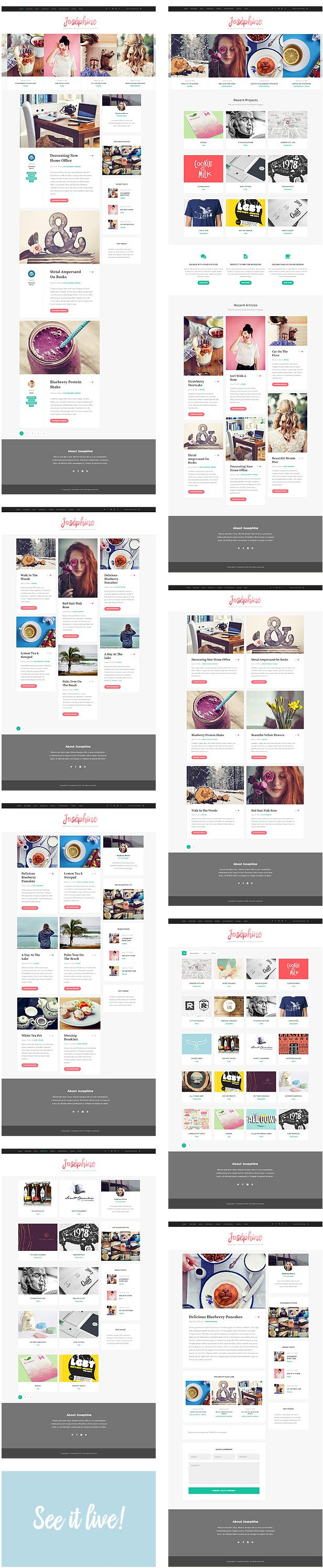 Josephine - WordPress Theme For Lifestyle Bloggers   ThemeForest - Love the way the top bar works.