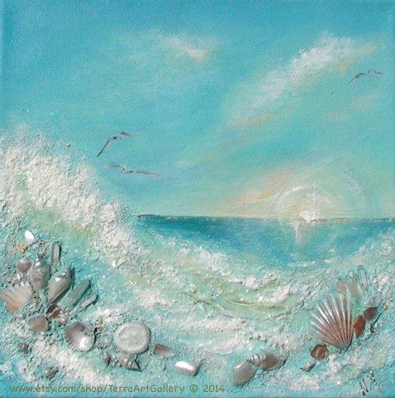 Ocean Sunrise 12x12 Original Mixed Media Art by TerraArtGallery, $70.00