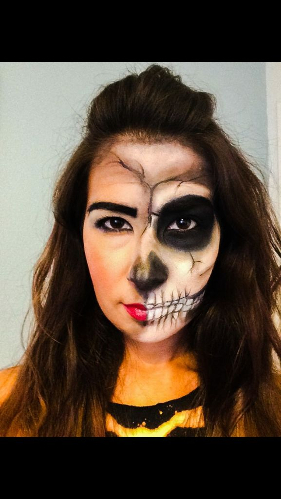 My Halloween makeup from last year. Half skeleton face.