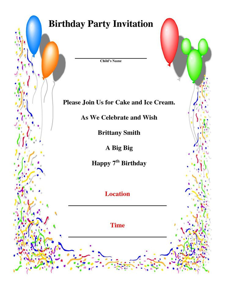 17 best birthday invitation images on Pinterest Invitation ideas - birthday template word