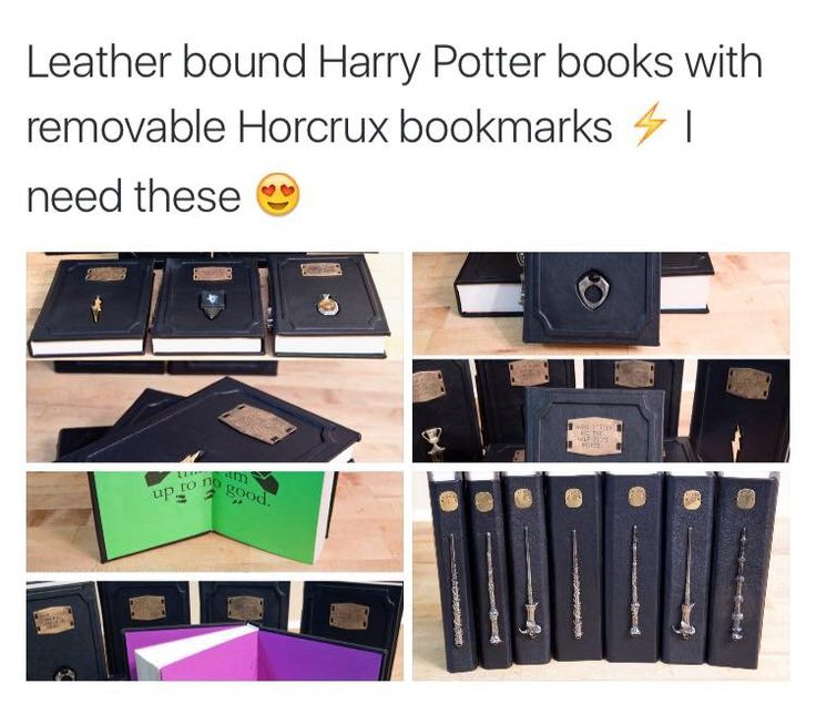 Leather-bound Harry Potter books with removable Horcruxes