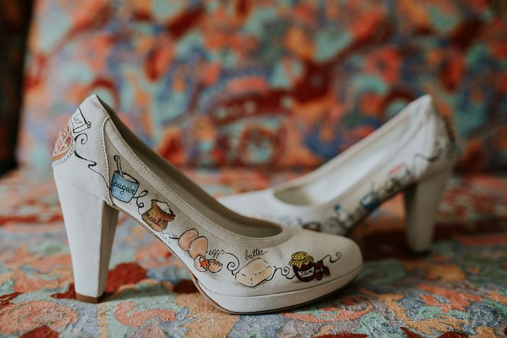 handpainted shoes for a pastry chef bride