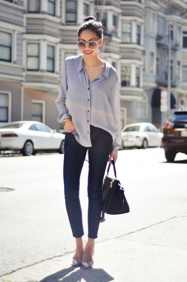 Blouse - Zara  Jeans - Forever21  Necklace - thanks to Albeit Jewelry  Heels - Stella McCartney  Purse - Celine