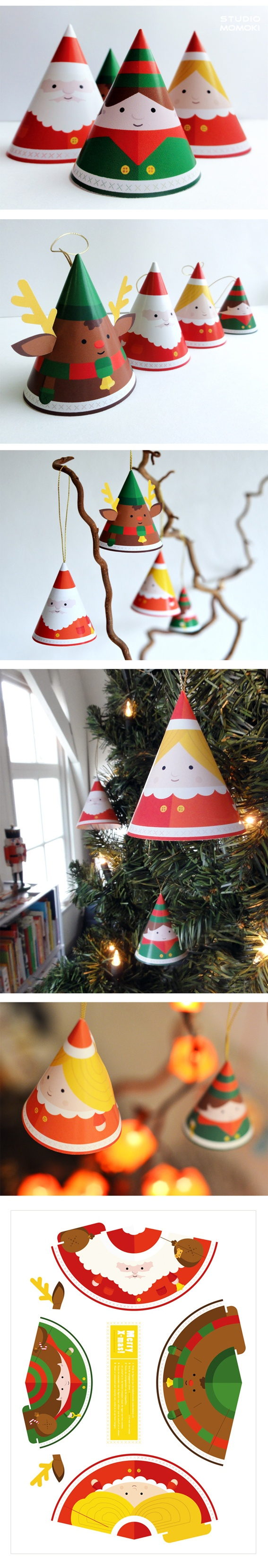Make your own papertoy christmas decoration design by Make your own christmas bunting