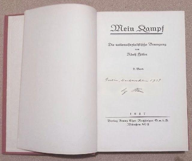 germanmilitariaww2: 1927 MEIN KAMPF ADOLF HITLER 1ST EDITION VOL. 2 AUTOGRAPH SIGNATURE PRICE $9999