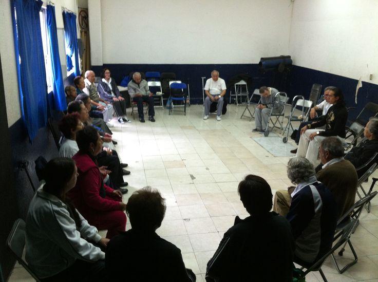 Con la Asociación Mexicana de Parkinson que esta en la casa de la cultura en Villa de Cortez Mexico