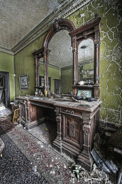 They just left - This house has been abandoned for decades and is filled with treasures, from WW2 ID cards to magazines dating back to the queens coronation. Its like the occupant just left: Abandoned Home, The Queen, Vanities, Magazines, Abandoned Mansions, Abandoned House, Cards, Abandoned Places, Antiques