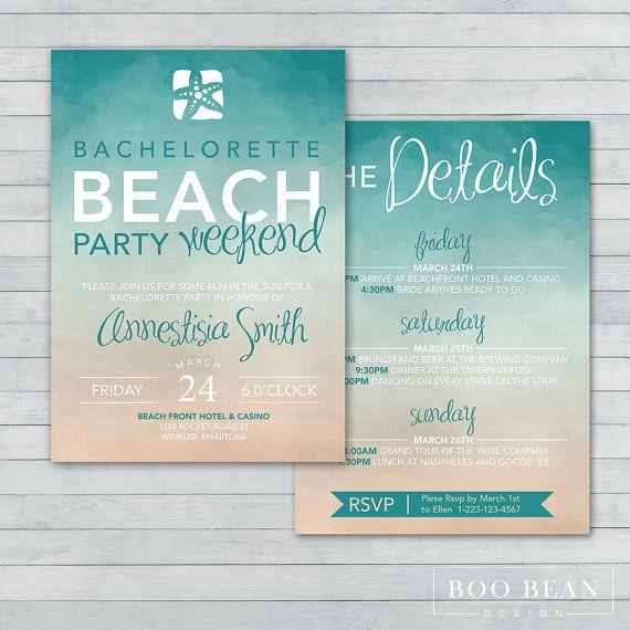 Beach Bachelorette Invitation Printable by BooBeanDesign on Etsy