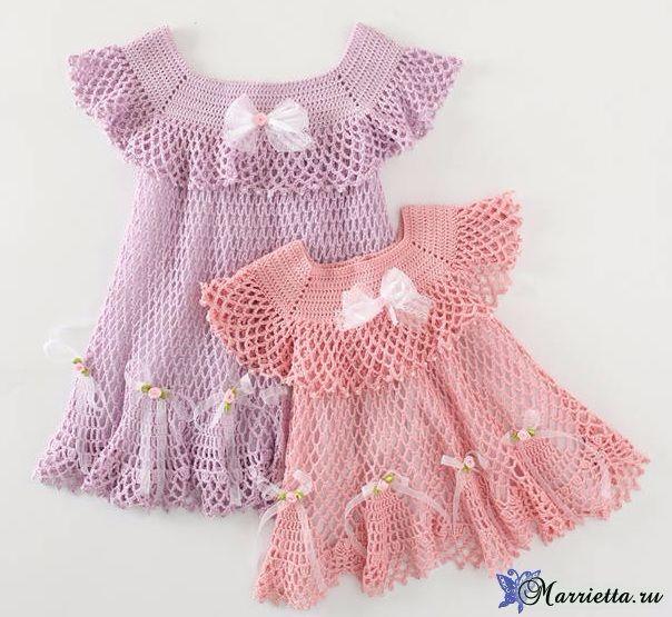 Нарядные платья крючком для маленьких принцесс » Женский Мир