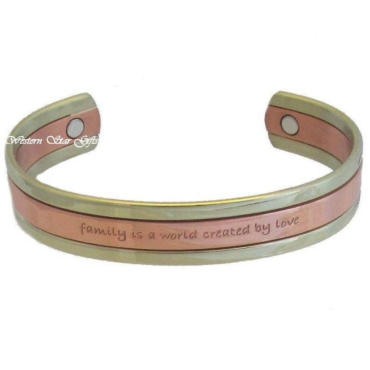 Magnetic Bracelet Silver Copper Message Arthritis Pain Jewelry Family Love | eBay
