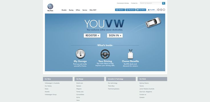 Project: youvw.com.au - Online Owner Portal. Role: Producer, UX. Agency: Tribal DDB.