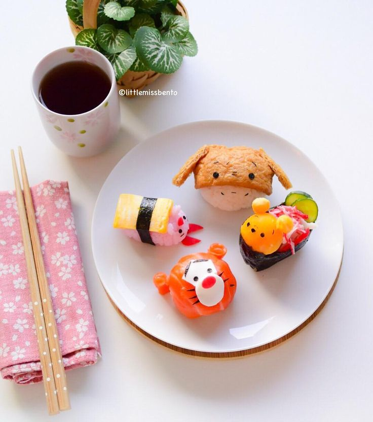 """Made sushi today! Winnie the Pooh and friends. Would you like this for lunch? Crabmeat & Egg Pooh Bear, Inarizushi Eeyore, Tamago sushi Piglet, Salmon…"""