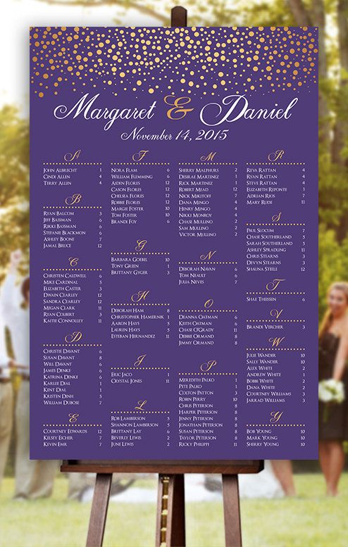 Wedding Seating Chart   RUSH SERVICE  Gold Polka Dots Confetti Sprinkle  Purple Wedding Seating Chart Poster   Digital Printable File HB104
