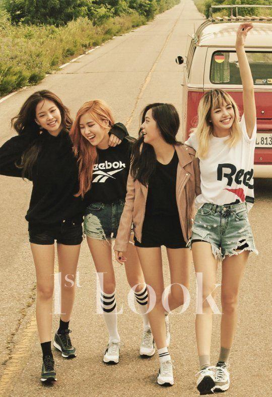 Black Pink rock vintage casual fashion for '1st Look' | #blackpink #yg #girlgroup #kpop #1stlook #magazine
