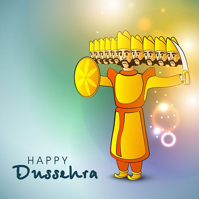 Vector abstract shiny background of Indian festival happy dussehra greeting card ravan with ten heads