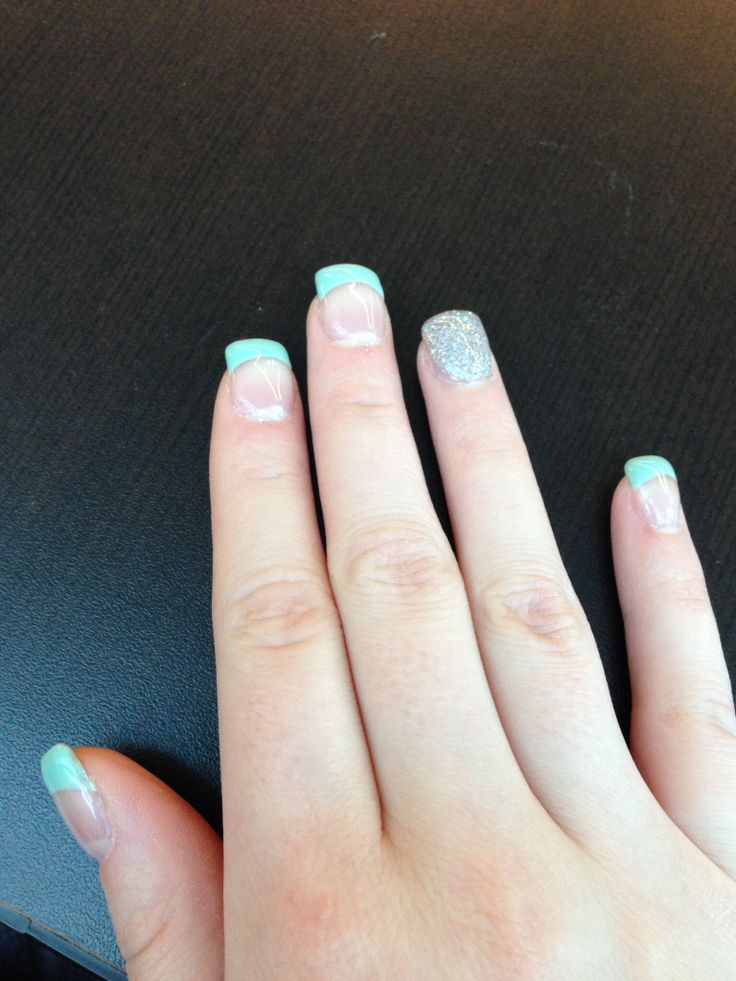 Mint gel nail tips with sparkly ring finger- Kristina Best (Just for You Nails)