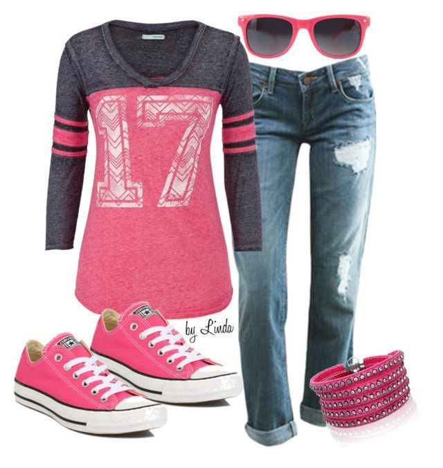 """""""Pink Converse Outfit"""" by lindakol on Polyvore"""