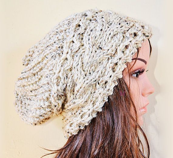 Slouchy cable mix style beanie hat  OATMEAL or by BeanieVille