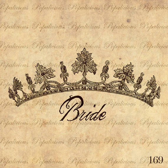 BRIDE and Tiara Vintage Illustration Download and by popalicious, $0.99