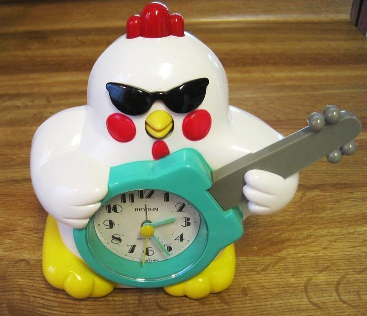 Details About Rock Nroll Chicken Guitar Clock Wow Yeah