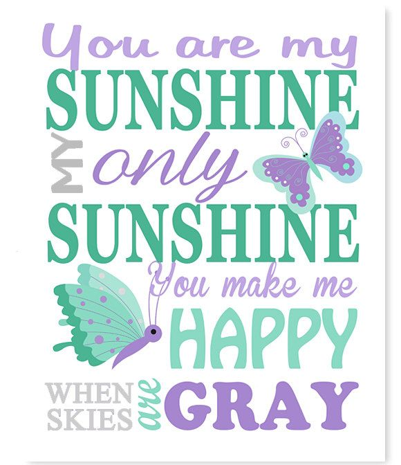You Are My Sunshine, Butterfly Nursery Decor, Purple Mint Grey, Girl's Room Decor, Baby Room Decor, Canvas Nursery Art, Baby Girl Decor by SweetPeaNurseryArt on Etsy