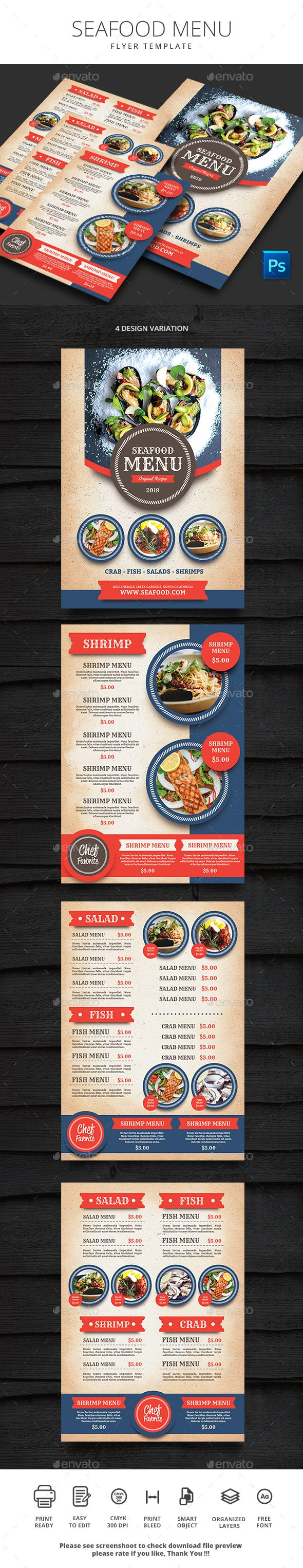 Seafood Menu - #Food #Menus Print Templates