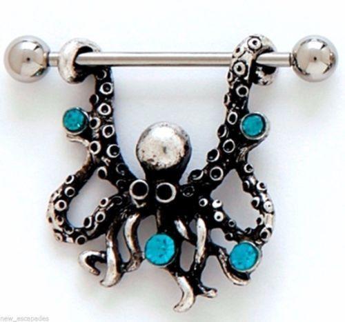 "Nipple Shields-PAIR-Octopus w/Blue Gems 14 Gauge 1"" Barbells Steel Body Jewelr"