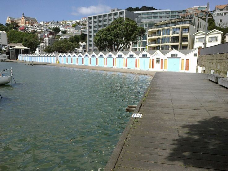 Boatsheds along Oriental Parade, Wellington New Zealand