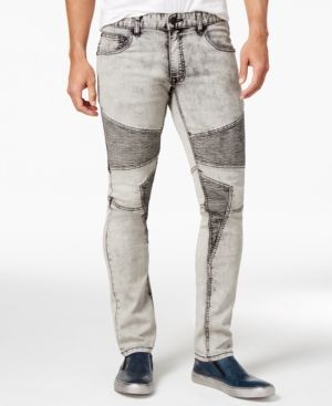 Inc International Concepts Men's Moto Skinny Fit Jeans, Only at Macy's - Tan/Beige 38x30