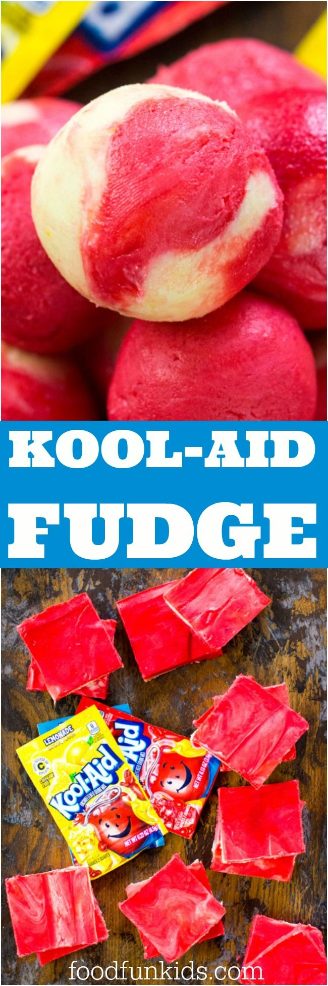 Kool Aid Fudge is one of the easiest and fun projects you can make with kids. All it takes is 3 ingredients and some refrigeration time. #fudge #koolaid
