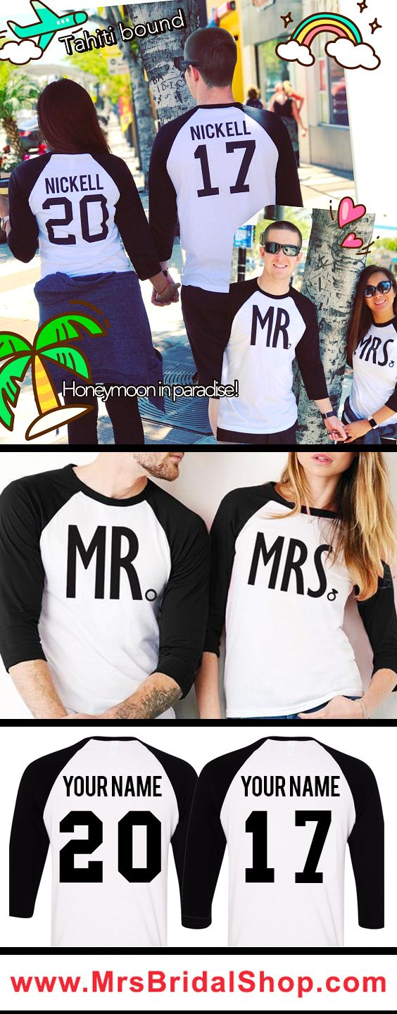 Perfect Newlywed Shirt for the #Honeymoon and after! MR & MRS Custom Baseball Tees Set at www.MrsBridalShop.com