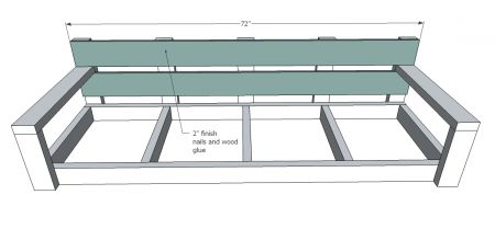 DIY porch swing or bench. Features extra wide and deep seat, ideal for napping or lounging, perfect for standard cushions. Plans call for off the shelf dimensional lumber, mostly 2x4s, and standard screw joints. Painted a pretty blue turquoise color, this porch swing is a breeze to build!