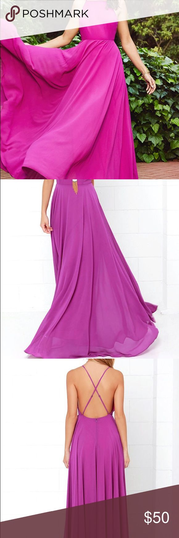 Purple maxi dress Purple maxi dress wore only once clean true to size Lulu's Dresses Maxi