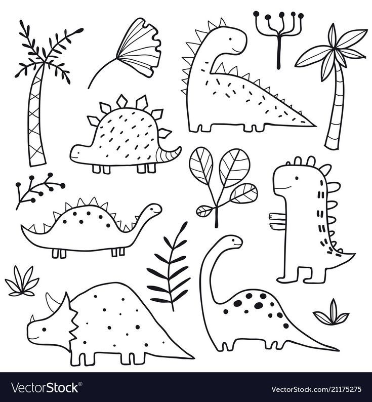 Cute dinosaurs and tropic plants Royalty Free Vect…