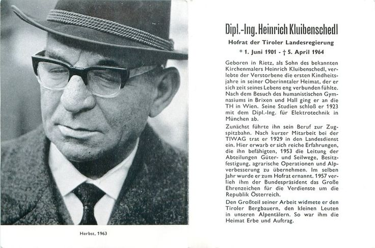 Kluibenschedl Heinrich Dipl.-Ing. Hofrat der Tiroler Landesregierung 1901-1964…